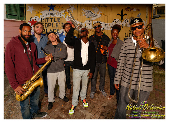 """One mornin last  week I got a call from Corey Henry about doin a """"quick""""  same day shoot for his band the Treme Funktet,  which I gladly carved out an hour or so that afternoon to do......when I asked what he had in mind for location, of course """"Treme"""" was the answer.....We hooked  up over at the Candlelight Lounge that afternoon and took a few shot's there.  I actually kinda felt like I visited with Uncle Lionel over there, when you see the images you will understand why.........after taking a few shots there we headed over to The Little People's Place  and took couple more shots.........One thing I found out about Cory that day  is that  EVERYBODY and I mean EVERYBODY in Treme  knows and loves Cory Henry.....that's not too surprising though......When he's not on the road with Galactic, Corey Henry and the Treme Funktet play over at Vaughn's on Thursday's, the slot that Kermit Ruffins held for many years.....Over the next couple weeks Corey Henry and the Treme Funktet will be playing at this years Fiya Fest Crawfish Boil & Benefit for The Roots of Music  at Mardi Gras World on May 2nd  and  later that night Bamboulas on Frenchmen St., at Vaughns both Thurday's April 24th and May 1st, and this  Saturday night 4/26 at the Blue Nile.... Needless to say, if you wanna get """"Funk'd Up"""" Treme Style.......get out and see Corey Henry and the Treme Funktet......Happy Jazz Fest!!!   Jerry"""